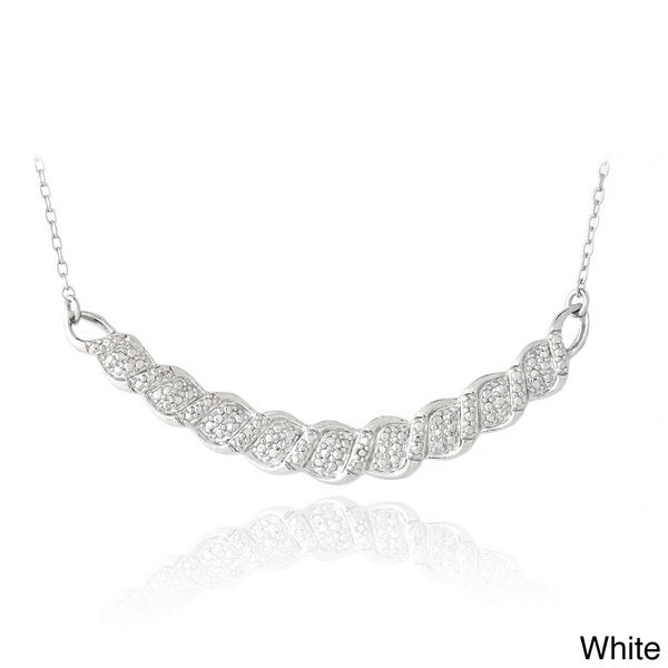 DB Designs Black or White Diamond Accent Bib Necklace