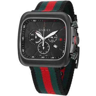 Gucci Men's YA131202 'Coupe' Black Dial Nylon Strap Chronograph Watch