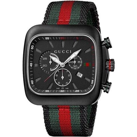 Gucci Men's 'Coupe' Black Dial Nylon Strap Chronograph Watch
