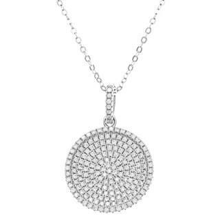 La Preciosa Sterling Silver Pave Cubic Zirconia Disc Necklace