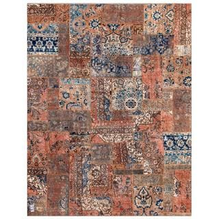 Herat Oriental Pak Persian Hand-Knotted Geometric Patchwork Multi-Colored Wool Rug (7'10 x 9'10)