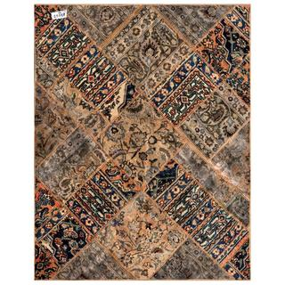 Herat Oriental Pak Persian Hand-knotted Patchwork Wool Rug (4'10 x 6'1)