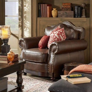 Myles Traditional Chocolate Bonded Leather Rolled Arm Chair by TRIBECCA HOME