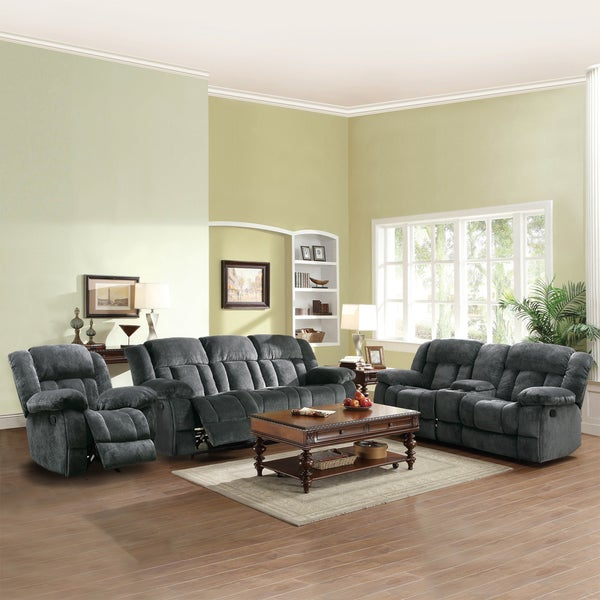 Tribecca home mason modern gray microfiber 3 piece for Living room 3 piece sets