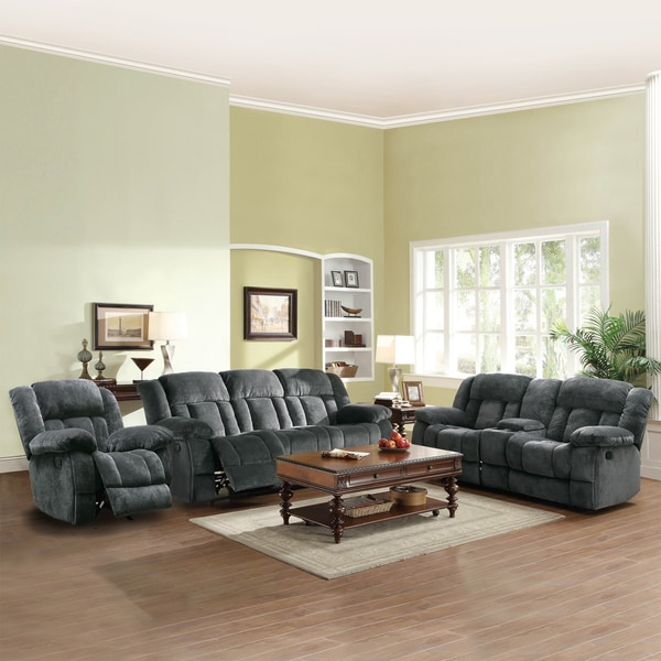 Shop tribecca home mason modern gray microfiber 3 piece - Microfiber living room furniture sets ...
