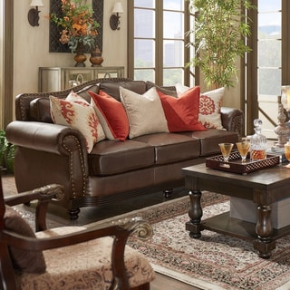 Myles Traditional Chocolate Bonded Leather Rolled Arm Sofa by iNSPIRE Q Classic