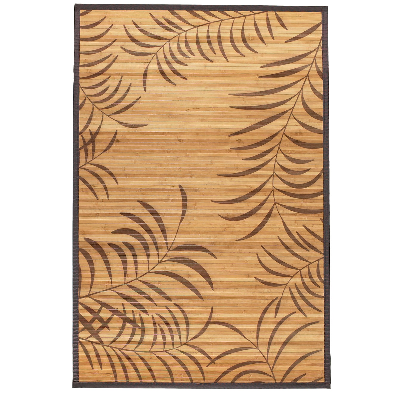 Bamboo Tropical Leaf Area Rug (5' x 8') (5'x8'), Brown, S...