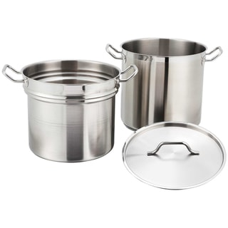 FortheChef 8 Qt. Stainless Steel Induction-Ready Double Boiler with Cover