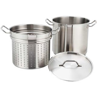 FortheChef 8 Qt. Stainless Steel Pasta Cooker and Steamer Set|https://ak1.ostkcdn.com/images/products/8098671/8098671/Winco-8-quart-Stainless-Steel-Steamer-Pasta-Cooker-P15449317.jpg?impolicy=medium