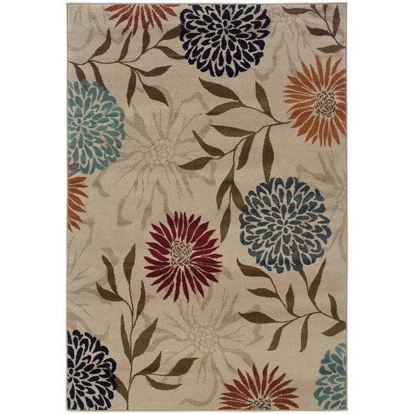 Floral Stone/ Multi Rug - 5'3 x 7'6