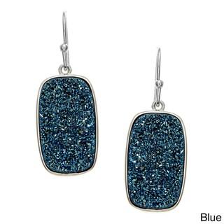 La Preciosa Sterling Silver Druzy Quartz Rectangle Earrings