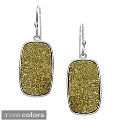 La Preciosa Sterling Silver Druzy Quartz Rectangle Earrings