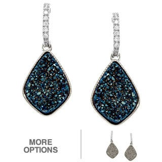 La Preciosa Sterling Silver Druzy/ Cubic Zirconia Earrings