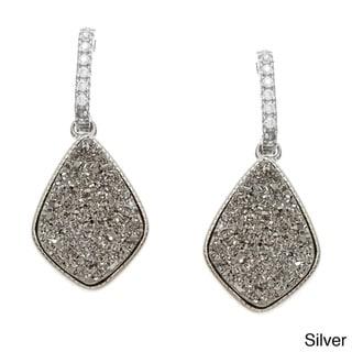La Preciosa Sterling Silver Druzy/ Cubic Zirconia Earrings