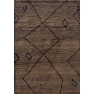 Old World Tribal Brown/ Tan Rug (5'3 x 7'6)