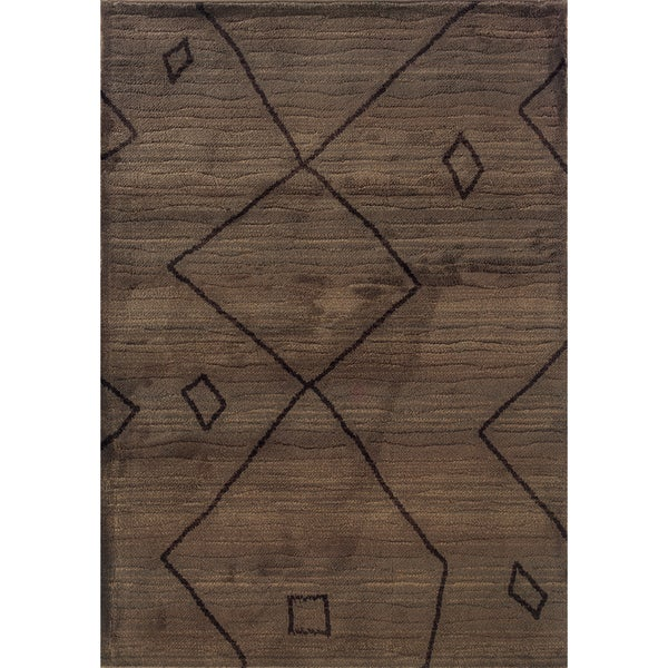 """Old World Tribal Brown/ Ivory Area Rug (7'10 x 10'10) - 7'10"""" x 10'10"""""""
