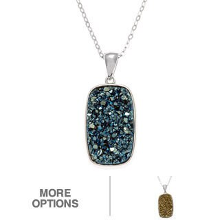 La Preciosa Sterling Silver Druzy Rectangle Pendant