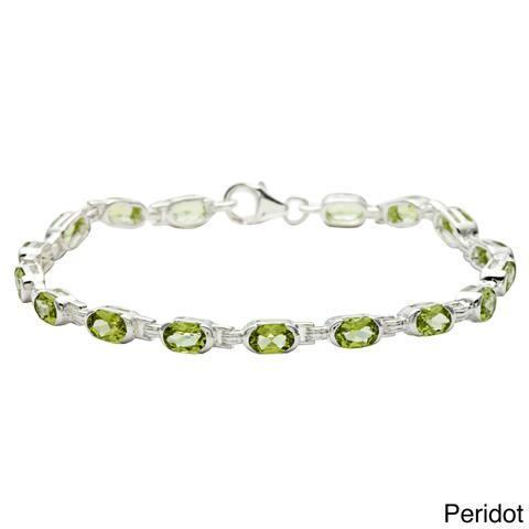 Oravo Sterling Silver Oval-cut Gemstone Bracelet
