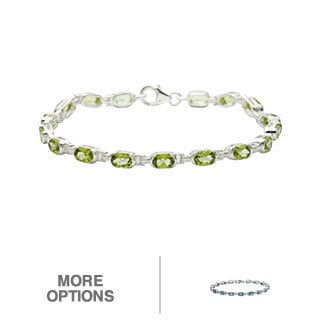 Oravo Sterling Silver Oval-cut Gemstone Bracelet (Option: Peridot)