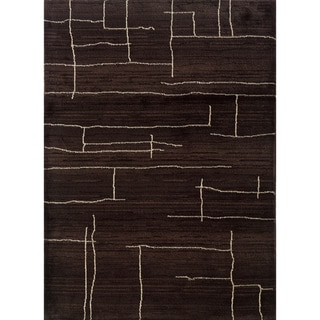 """Old World Tribal Transitional Brown/Ivory Rug (6'7"""" x 9'1"""")"""