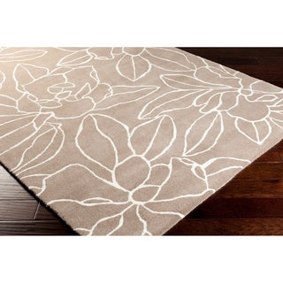 Hand-tufted Contemporary Grey Floral Rug (8' x 11')