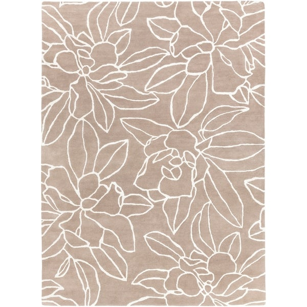 Hand-tufted Contemporary Grey Floral Area Rug - 8' X 11'