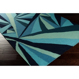 Voyages Hand-woven Contemporary Blue Geometric Rug (8' x 11')