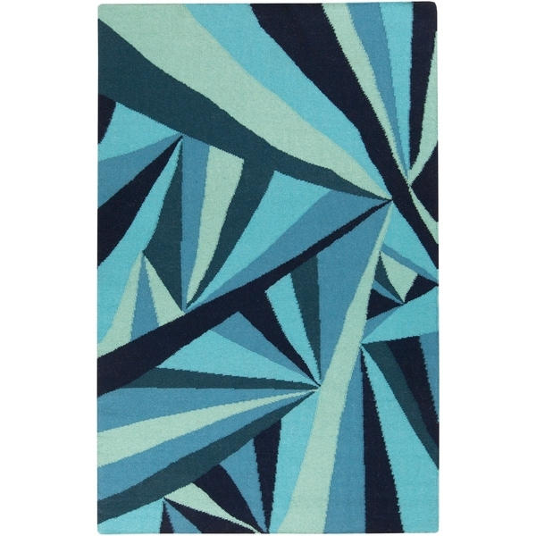 Voyages Hand-woven Contemporary Blue Geometric Area Rug - 8' X 11'