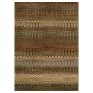 Geometric Brown/ Green Rug (3'10 x 5'5)