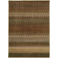 "Geometric Brown/ Green Rug (3'10 x 5'5) - 3'10"" x 5'5"""