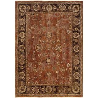 Distressed Oriental Orange/ Brown Rug (3'10 x 5'5)