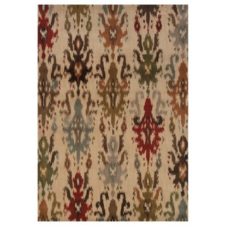 Tribal Ikat Ivory/ Multi Rug (6'7 x 9'6)