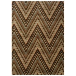 Chevron Brown/ Blue Rug (5'3 x 7'6)