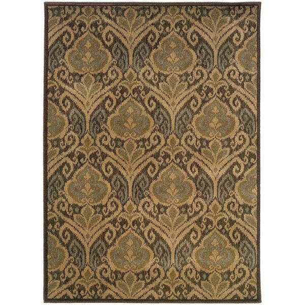 Floral Panel Green/ Ivory Rug - 5'3 x 7'6