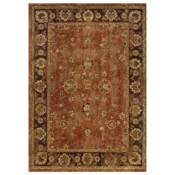 Distressed Oriental Orange Brown Rug 5 3 X 7 6 Free