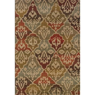 Tribal Panel Multi/ Beige Rug (6'7 x 9'6)