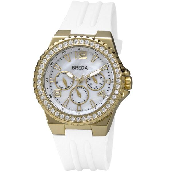 "Breda Women's ""Ashley"" Gold Bold White Silicone Band Watch"
