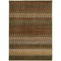"Geometric Brown/ Green Rug (6'7 x 9'6) - 6'7"" x 9'6"""