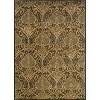 Floral Panel Green/ Ivory Rug (6'7 x 9'6)