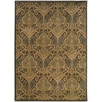 Floral Panel Green/ Ivory Rug - 6'7 x 9'6