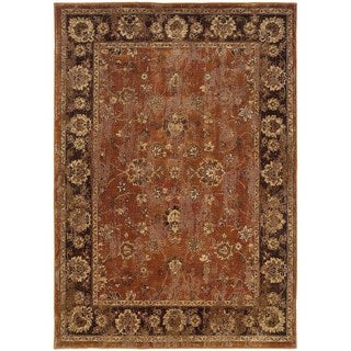 Distressed Oriental Orange/ Brown Rug (6'7 x 9'6)