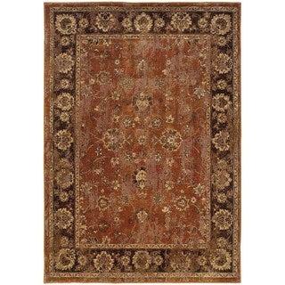 Distressed Oriental Orange/ Brown Rug (6'7 x 9'6)