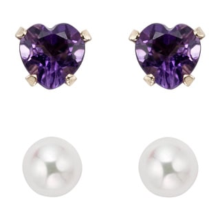 Pearlyta 14k Gold Freshwater Pearl and Purple Amethyst Heart Earring Set (4-5mm)
