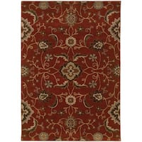 Floral Red/ Multi Traditional Rug - 6'7 x 9'6