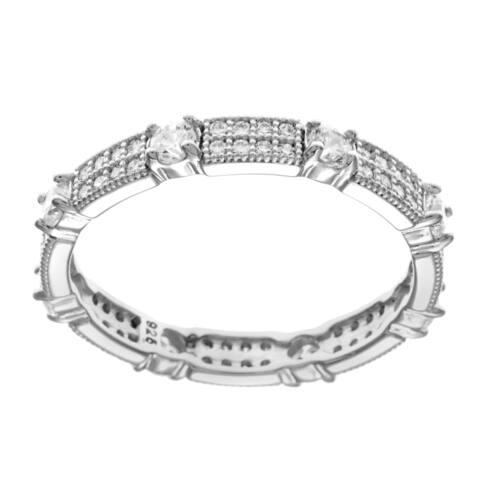 La Preciosa Sterling Silver Round Pave Cubic Zirconia Ring