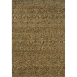 Neutral Panel Beige/ Blue Rug (7'10 x 10'10)