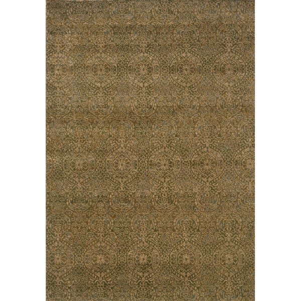Neutral Panel Beige/ Blue Rug (7'10 x 10'10)