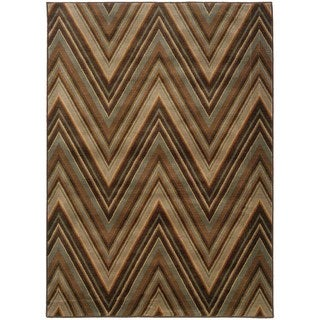 Chevron Brown/ Blue Rug (7'10 x 10'10)