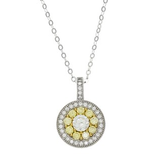 La Preciosa Sterling Silver Pave Two-tone Cubic Zirconia Circle Necklace