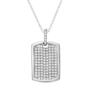 La Preciosa Sterling Silver Pave Cubic Zirconia Small Dog Tag Necklace